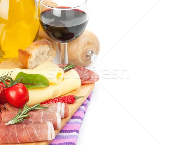 Vino rosso formaggio prosciutto pane verdura spezie Foto d'archivio © karandaev