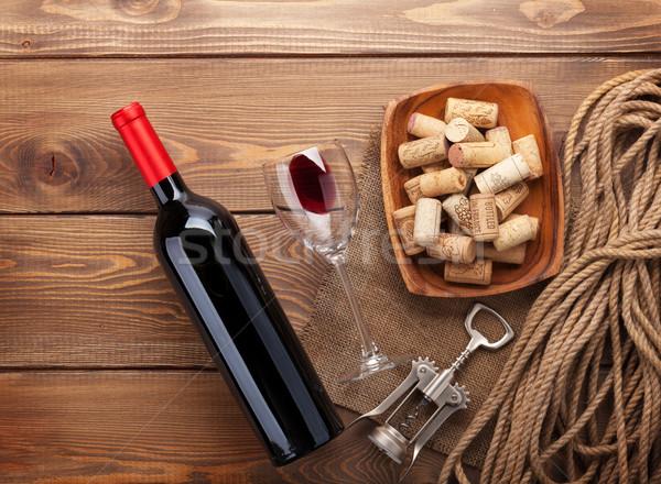 şişe şarap kadehi çanak Stok fotoğraf © karandaev