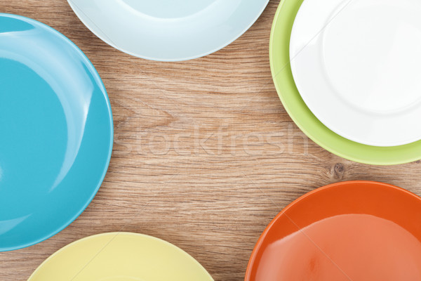 Coloré plaques table en bois espace de copie alimentaire Photo stock © karandaev
