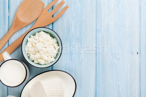 Mleka ser masło drewniany stół górę Zdjęcia stock © karandaev