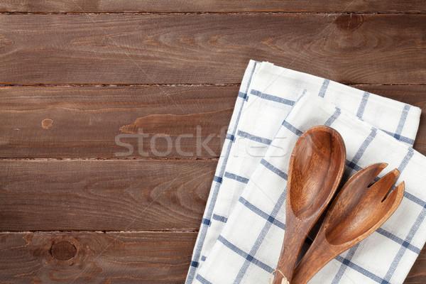 Kitchen utensil over wooden table Stock photo © karandaev