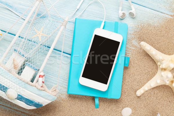 Bloc de notas mar arena estrellas de mar juguete Foto stock © karandaev