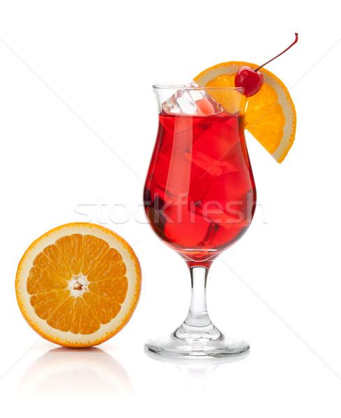 Red cocktail with orange and maraschino Stock photo © karandaev
