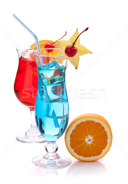 Stock photo: Two tropical cocktails and orange
