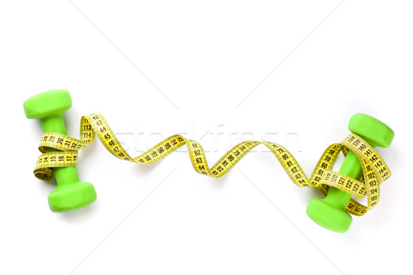 Manubri nastro di misura fitness isolato bianco sfondo Foto d'archivio © karandaev