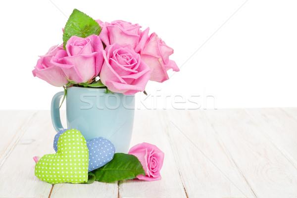Stock fotó: Valentin · nap · rózsaszín · rózsák · virágcsokor · játék · szívek