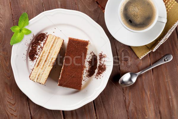 Tiramisu desszert kávé fa asztal felső kilátás Stock fotó © karandaev