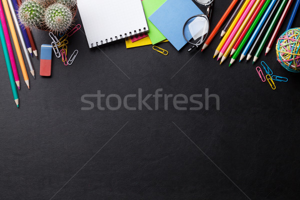 Office desk with supplies Stock photo © karandaev