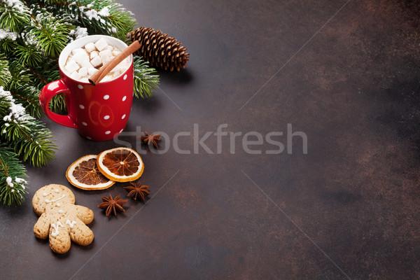 クリスマス ホットチョコレート マシュマロ 表示 コピースペース ストックフォト © karandaev