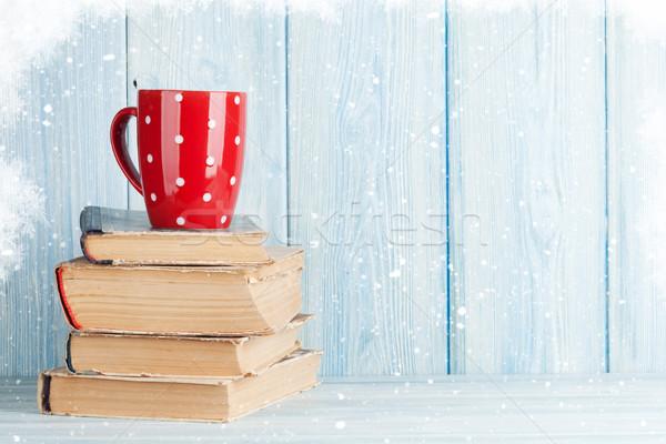 Warme chocolademelk beker boeken christmas exemplaar ruimte Stockfoto © karandaev