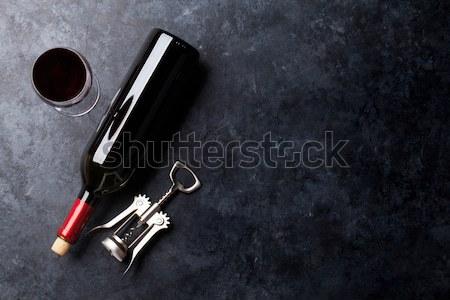 赤ワイン ガラス ボトル 石 表 先頭 ストックフォト © karandaev