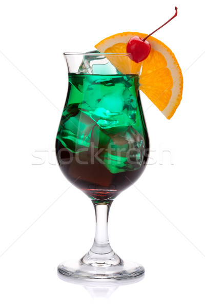 Dark green tropical cocktail Stock photo © karandaev