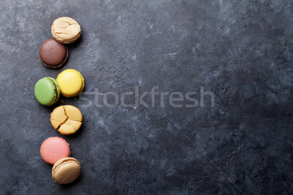 Stockfoto: Kleurrijk · steen · tabel · zoete · macarons · top