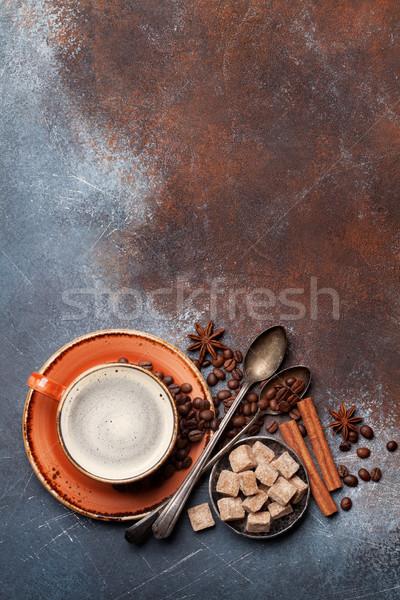 Taza de café frijoles azúcar especias superior vista Foto stock © karandaev