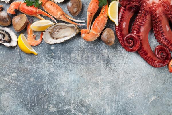Tengeri hal polip osztriga homár főzés felső Stock fotó © karandaev