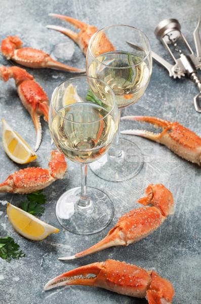 Mariscos vino langosta limón vino blanco gafas Foto stock © karandaev
