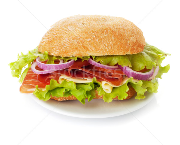 Stock photo: Small sandwich on plate