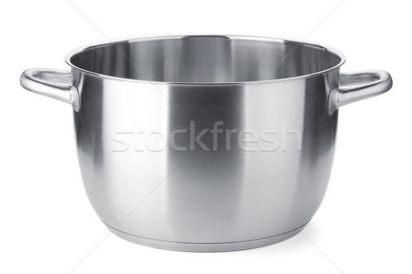 Roestvrij staal pot dekken geïsoleerd witte voedsel Stockfoto © karandaev