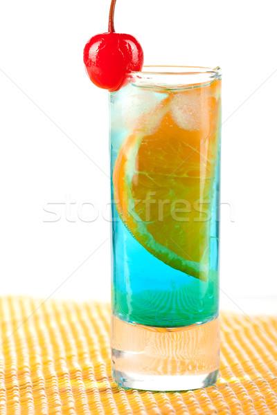 Alcohol cocktail with blue curacao, orange and maraschino Stock photo © karandaev