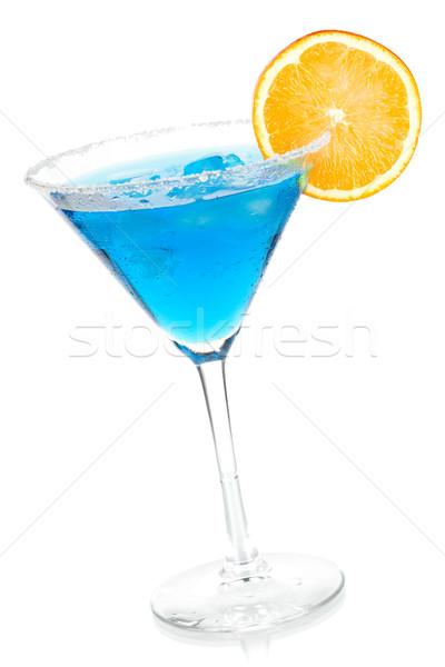 Coquetel coleção azul martini fatia de laranja isolado Foto stock © karandaev