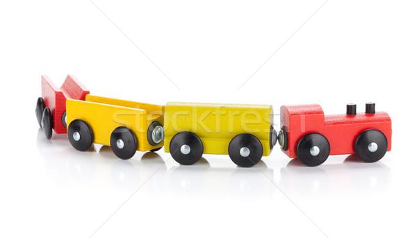 Juguete de madera tren aislado blanco bebé Foto stock © karandaev