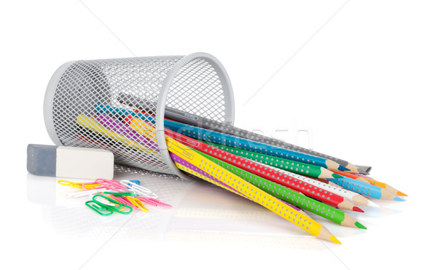 Various colorful pencils and office tools Stock photo © karandaev