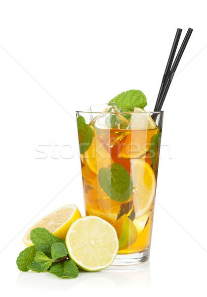 üveg jegestea citrom citrus menta izolált Stock fotó © karandaev