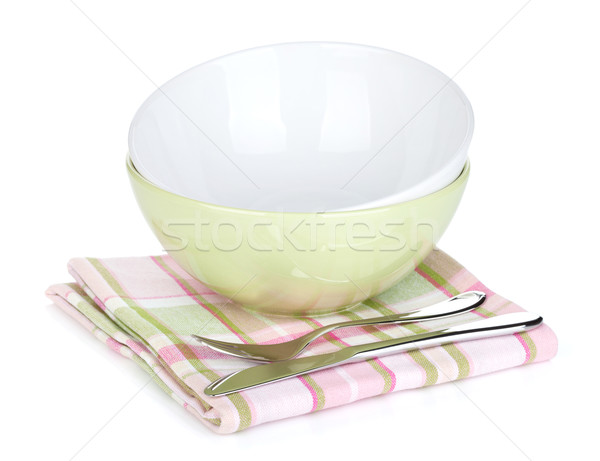 Salad bowl and silverware over kitchen towel Stock photo © karandaev