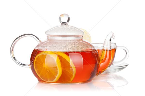 ガラス カップ ティーポット 黒 茶 レモン ストックフォト © karandaev