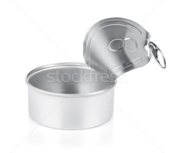üres kinyitott konzervdoboz konzerv izolált fehér Stock fotó © karandaev