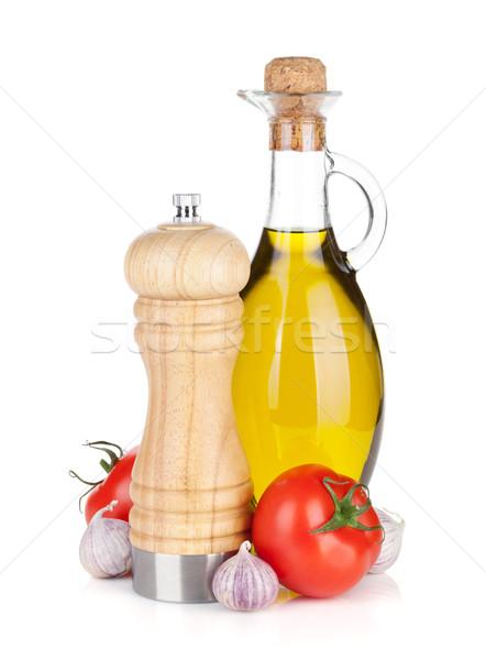 Taze domates zeytinyağı biber shaker yalıtılmış Stok fotoğraf © karandaev