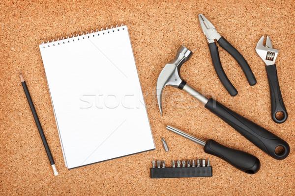 набор инструменты пробка панель блокнот копия пространства Сток-фото © karandaev