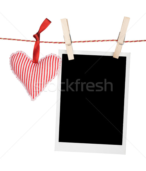 Blank instant photo and red heart Stock photo © karandaev