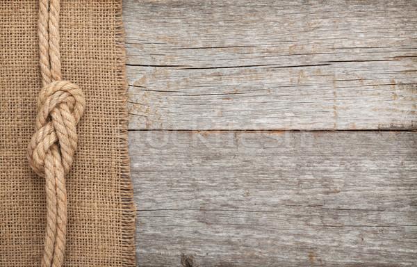 Navire corde bois toile de jute texture vieux bois Photo stock © karandaev