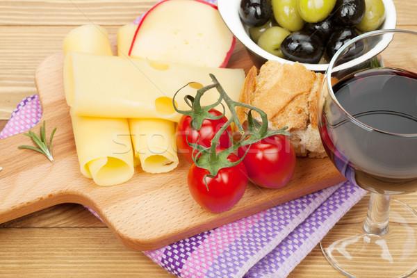 Peynir zeytin ekmek sebze baharatlar Stok fotoğraf © karandaev