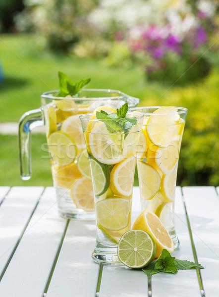 Házi készítésű limonádé friss gyümölcs üveg nyár Stock fotó © karandaev