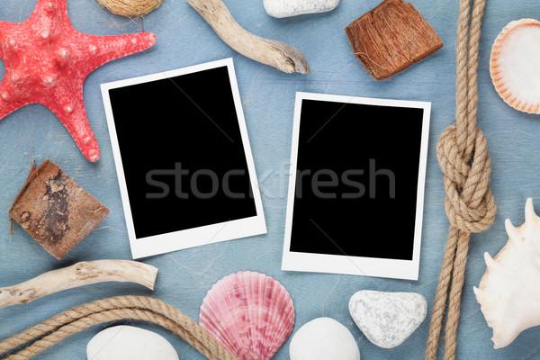 Utazás fotó keret kék fából készült textúra Stock fotó © karandaev