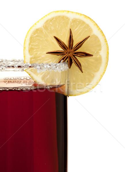 Mulled wine with lemon slice and anise Stock photo © karandaev