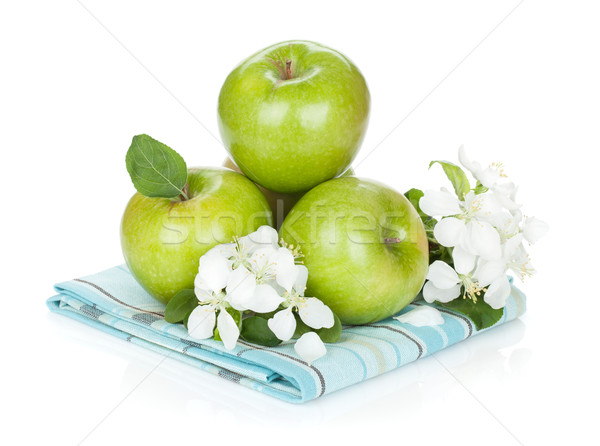 Stock photo: Ripe green apples and flowers