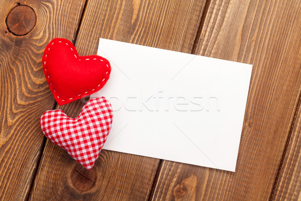 Photo frame or greeting card and handmaded valentines day toy he Stock photo © karandaev