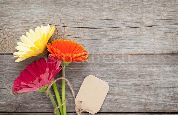 три красочный цветы тег деревянный стол природы Сток-фото © karandaev