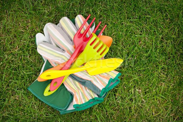 Jardín herramientas hierba verde campo espacio de la copia primavera Foto stock © karandaev