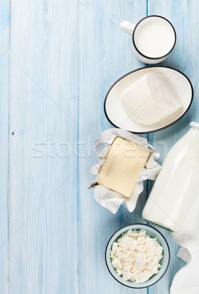 Panna acida latte formaggio yogurt tavolo in legno Foto d'archivio © karandaev