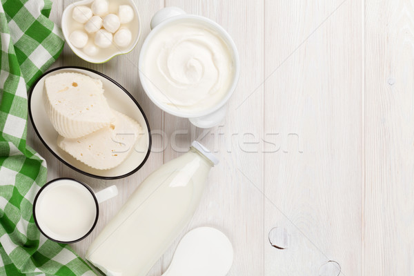 Dairy products. Sour cream, milk, cheese, yogurt and butter Stock photo © karandaev
