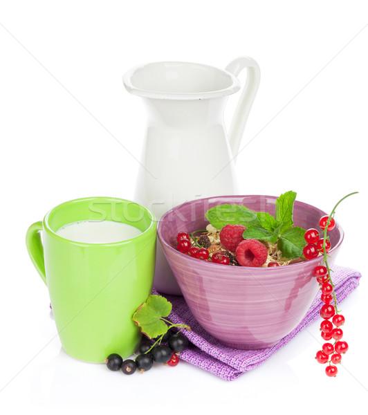 Sağlıklı kahvaltı müsli süt yalıtılmış beyaz Stok fotoğraf © karandaev