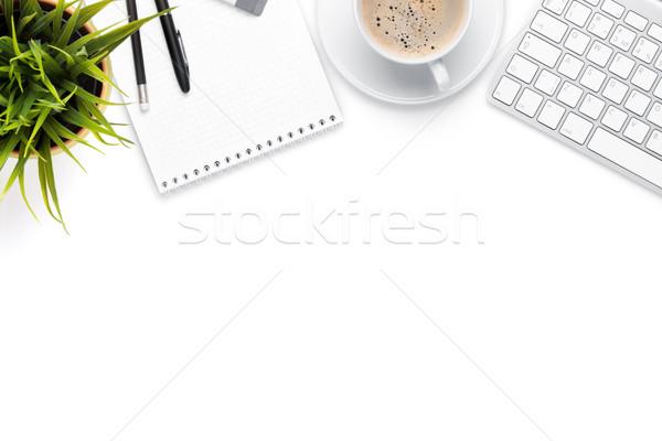 Irodai asztal asztal számítógép készlet kávéscsésze virág Stock fotó © karandaev