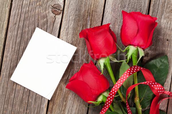 バレンタインデー バラ フォトフレーム 木製 テクスチャ 結婚式 ストックフォト © karandaev