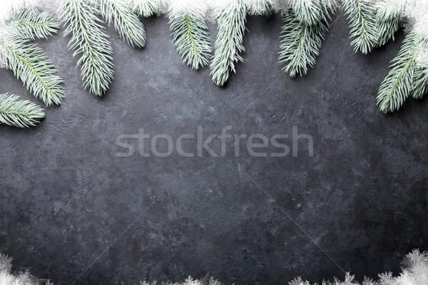 Karácsony fenyőfa hó kő textúra copy space Stock fotó © karandaev