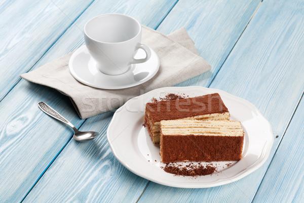 ティラミス デザート コーヒーカップ 木製のテーブル 食品 木材 ストックフォト © karandaev