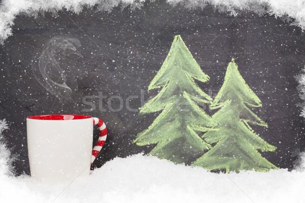 Christmas hot drink and hand drawn xmas fir tree Stock photo © karandaev
